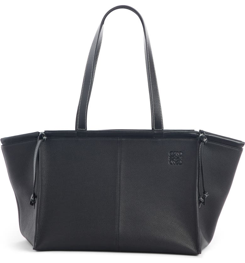 LOEWE Cushion Leather Convertible Gusset Tote, Main, color, BLACK