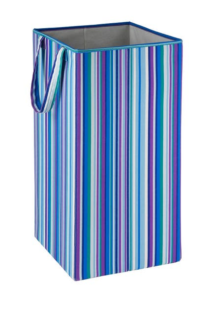 Image of Honey-Can-Do Blue/Purple Stripe Rectangular Collapsible Hamper With Handles