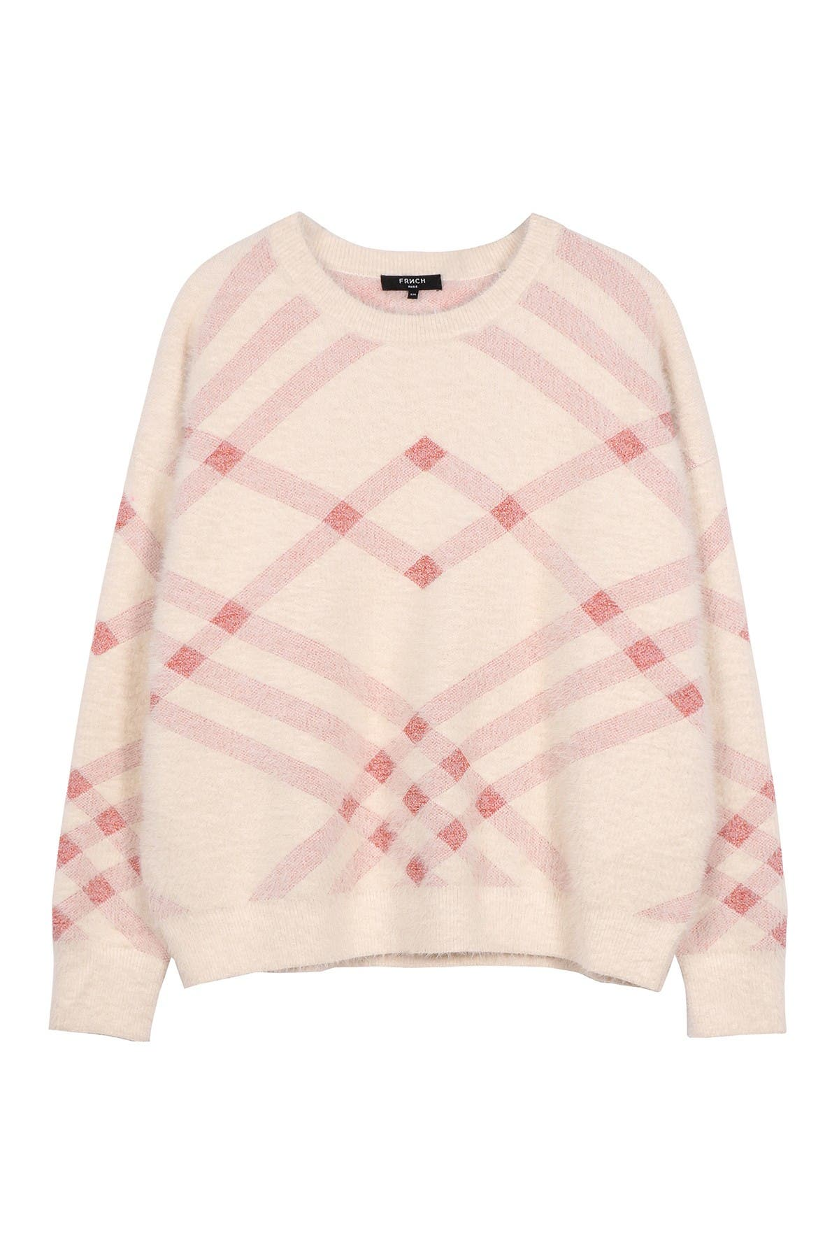 Image of FRNCH Plaid Crew Neck Sweater
