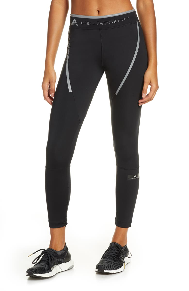 ADIDAS BY STELLA MCCARTNEY Run Long Zip Cuff Tights, Main, color, BLACK