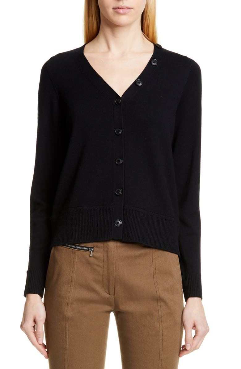 PROENZA SCHOULER Double V-Neck Merino Wool Cardigan, Main, color, BLACK