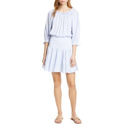 Rebecca Taylor Bow Sleeve Stretch Cotton Minidress, Blue