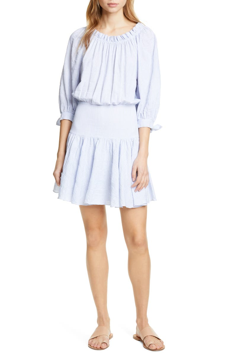 REBECCA TAYLOR Bow Sleeve Stretch Cotton Minidress, Main, color, BLUE COMBO