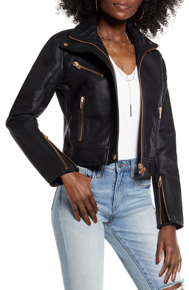 BLANKNYC The Essentials Faux Leather Moto Jacket, Main, color, BLACK