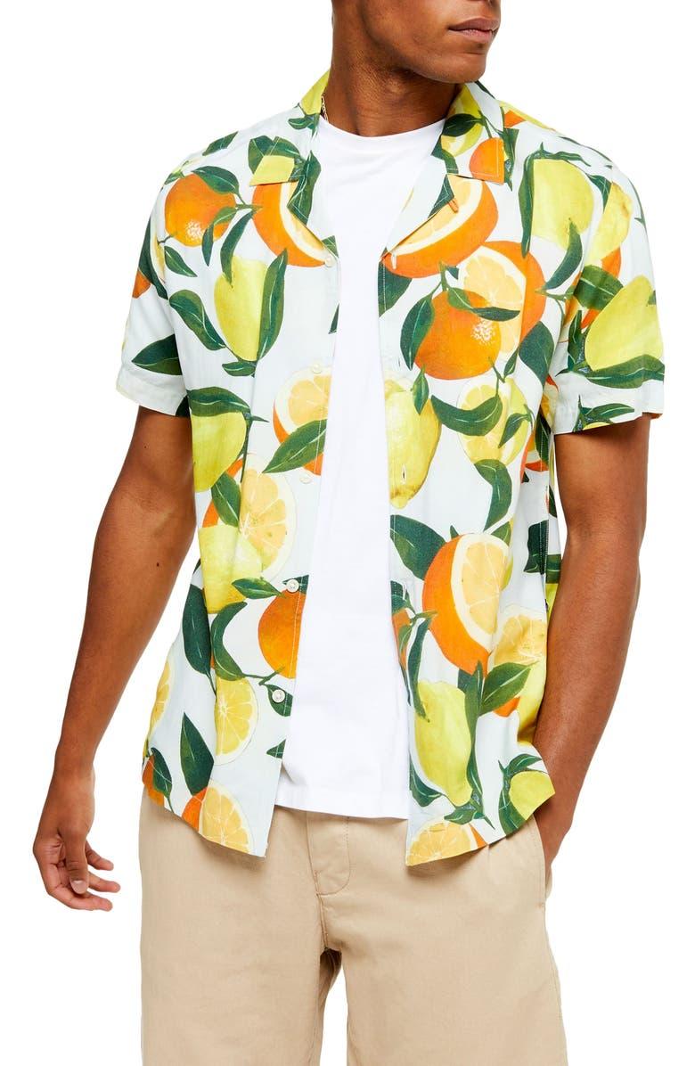 TOPMAN Lemon & Orange Classic Shirt, Main, color, ORANGE MULTI