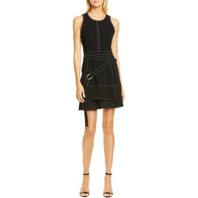 Cinq A Sept Carver Belted Pleat Hem Minidress, Black