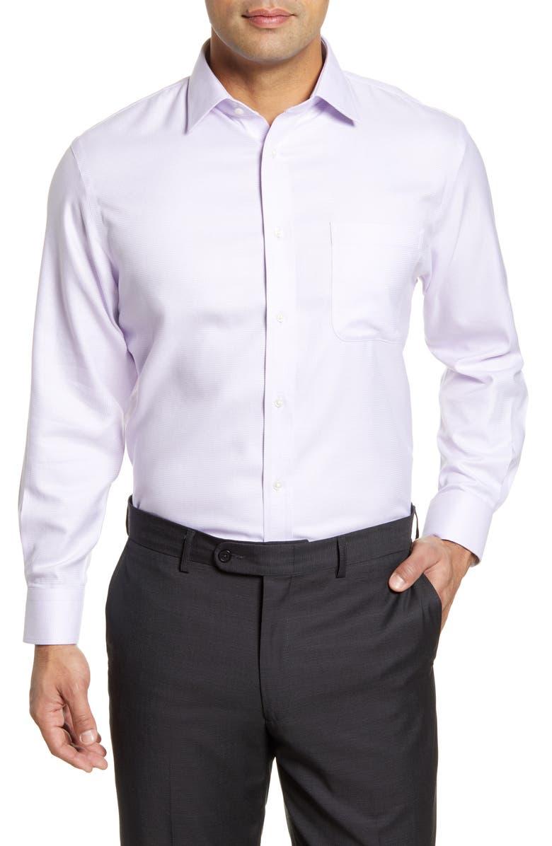 NORDSTROM Men's Shop Traditional Fit Non-Iron Houndstooth Dress Shirt, Main, color, PURPLE SECRET