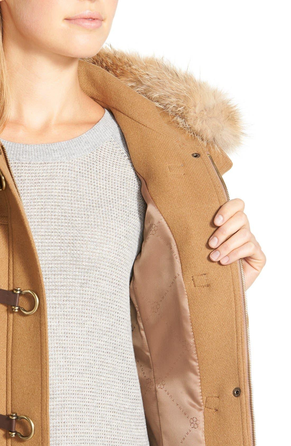 ,                             Genuine Coyote Fur Trim Wool Blend Duffle Coat,                             Alternate thumbnail 9, color,                             262