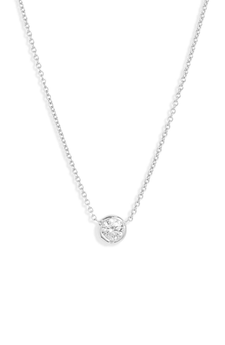 BONY LEVY Medium Bezel Diamond Solitaire Necklace, Main, color, WHITE GOLD/ DIAMOND
