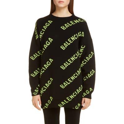 Balenciaga Oversize Logo Jacquard Wool Blend Sweater, Black