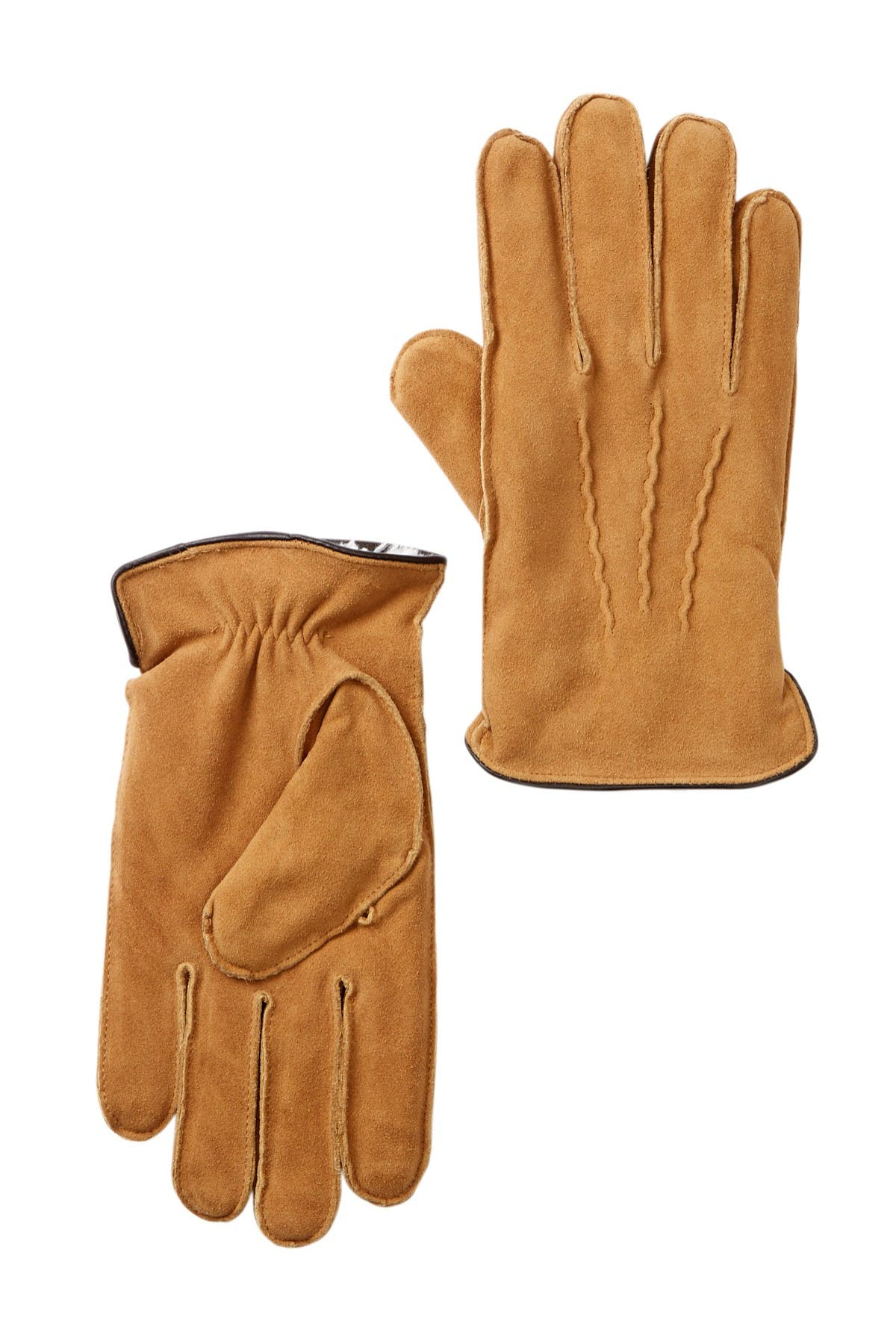 Image of Nordstrom Rack Suede Micropile Faux Fur Lined Gloves