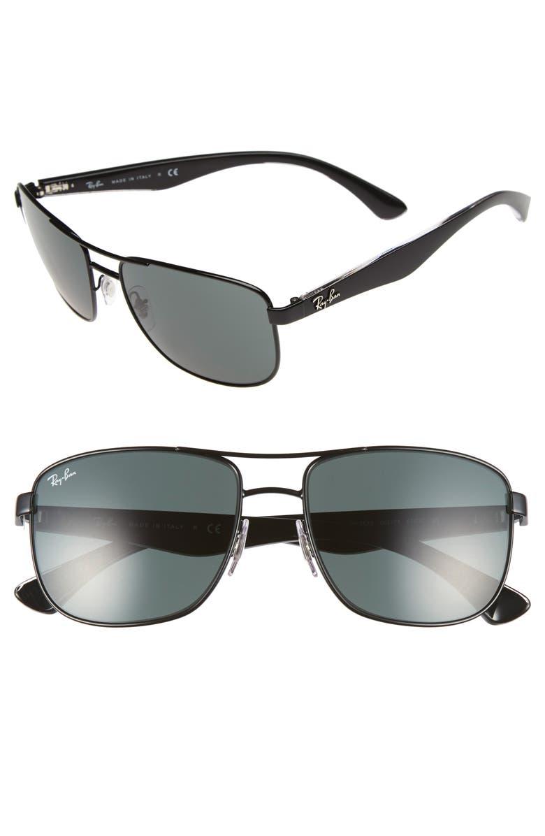RAY-BAN 57mm Aviator Sunglasses, Main, color, BLACK/ GREY GREEN GRADIENT