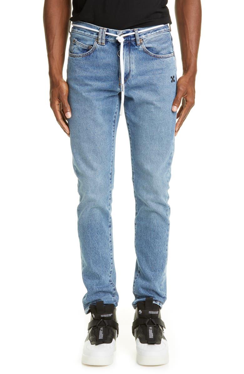 OFF-WHITE Slim Fit Jeans, Main, color, BLUE BLACK