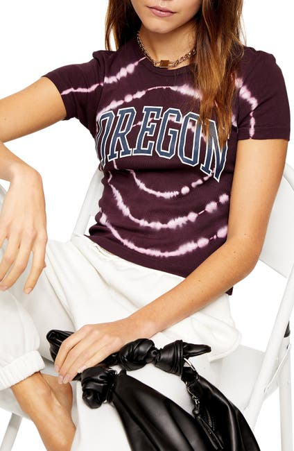 Image of TOPSHOP Oregon Tie Dye Graphic Tee