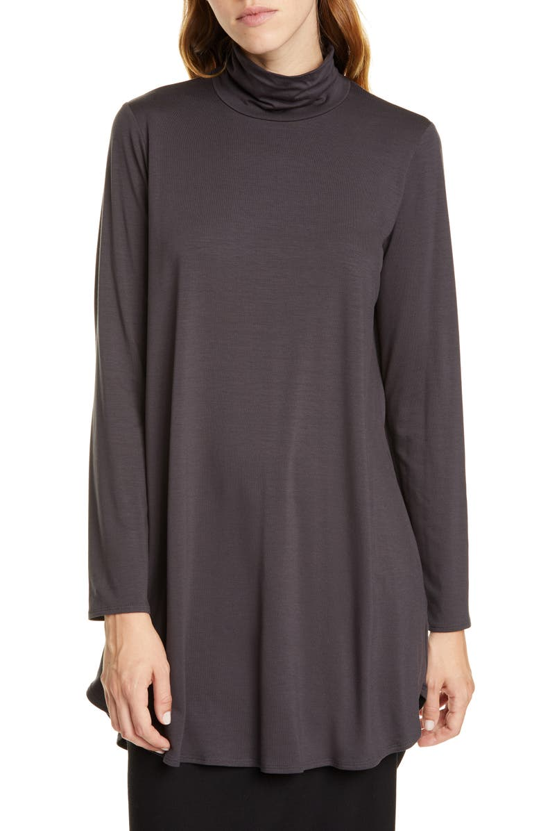 EILEEN FISHER Scrunch Neck Tunic, Main, color, CHARCOAL
