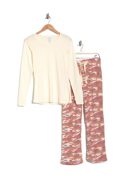 Image of Cherokee Solid Top & Printed Pants 2-Piece Pajama Set
