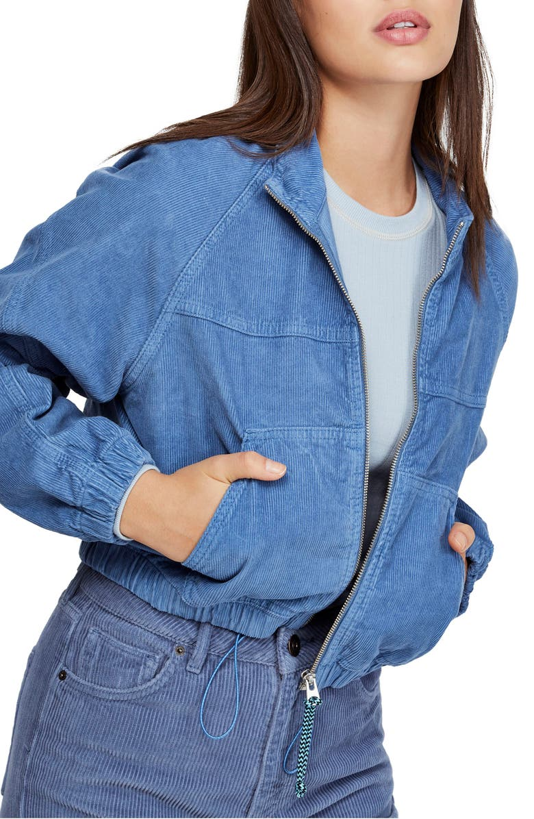 BDG Urban Outfitters Corduroy Crop Hooded Jacket, Main, color, LIGHT BLUE