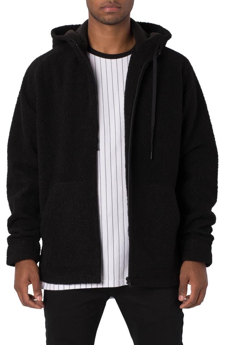 ZANEROBE Teddy Fleece Zip Hoodie, Main, color, BLACK