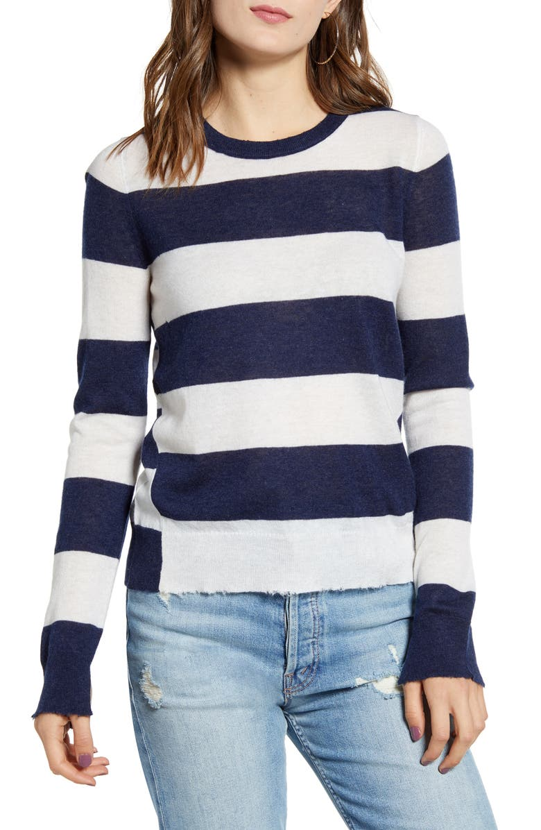 ZADIG & VOLTAIRE Source Stripe Cashmere Sweater, Main, color, BOUTON