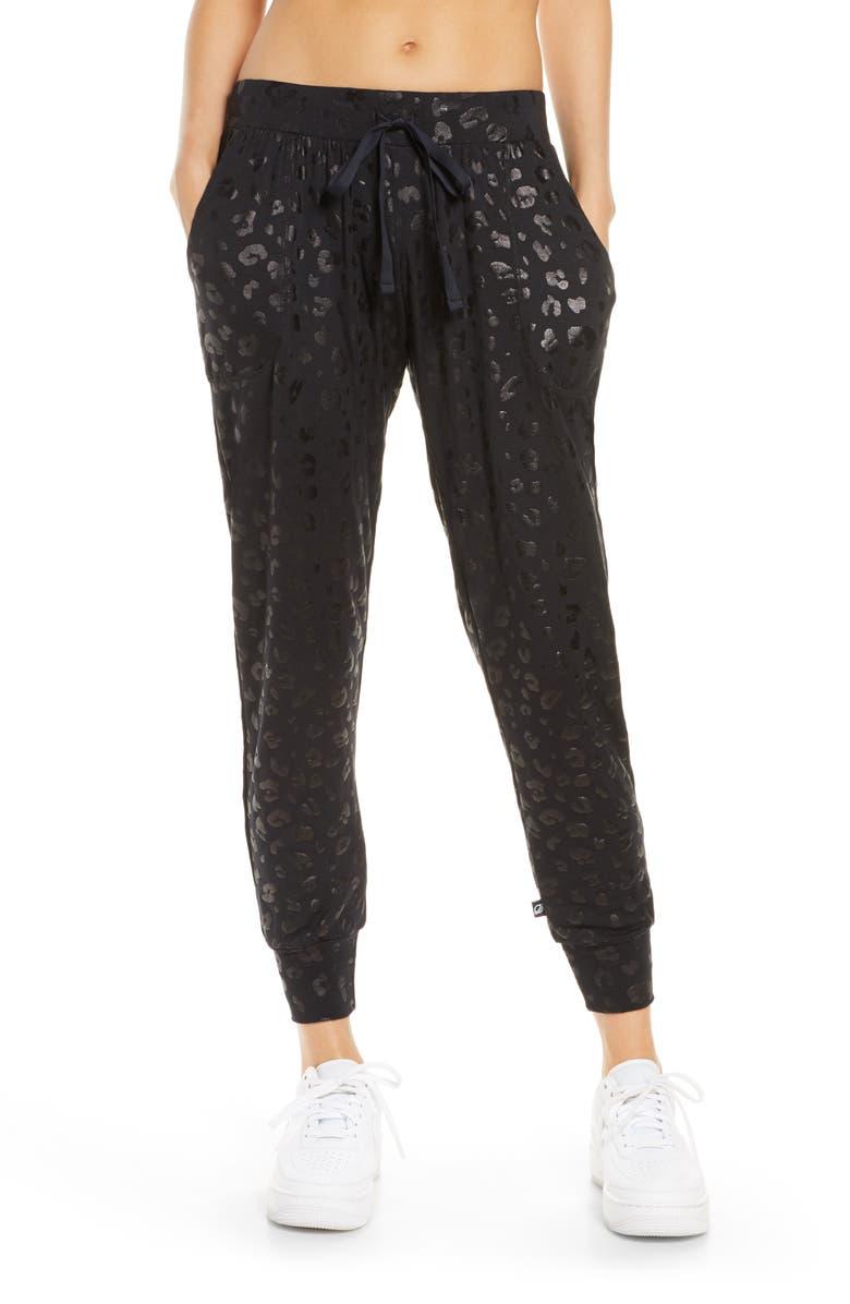 TEREZ Foiled Animal Print Jogger Pants, Main, color, BLACK FOIL CHEETAH