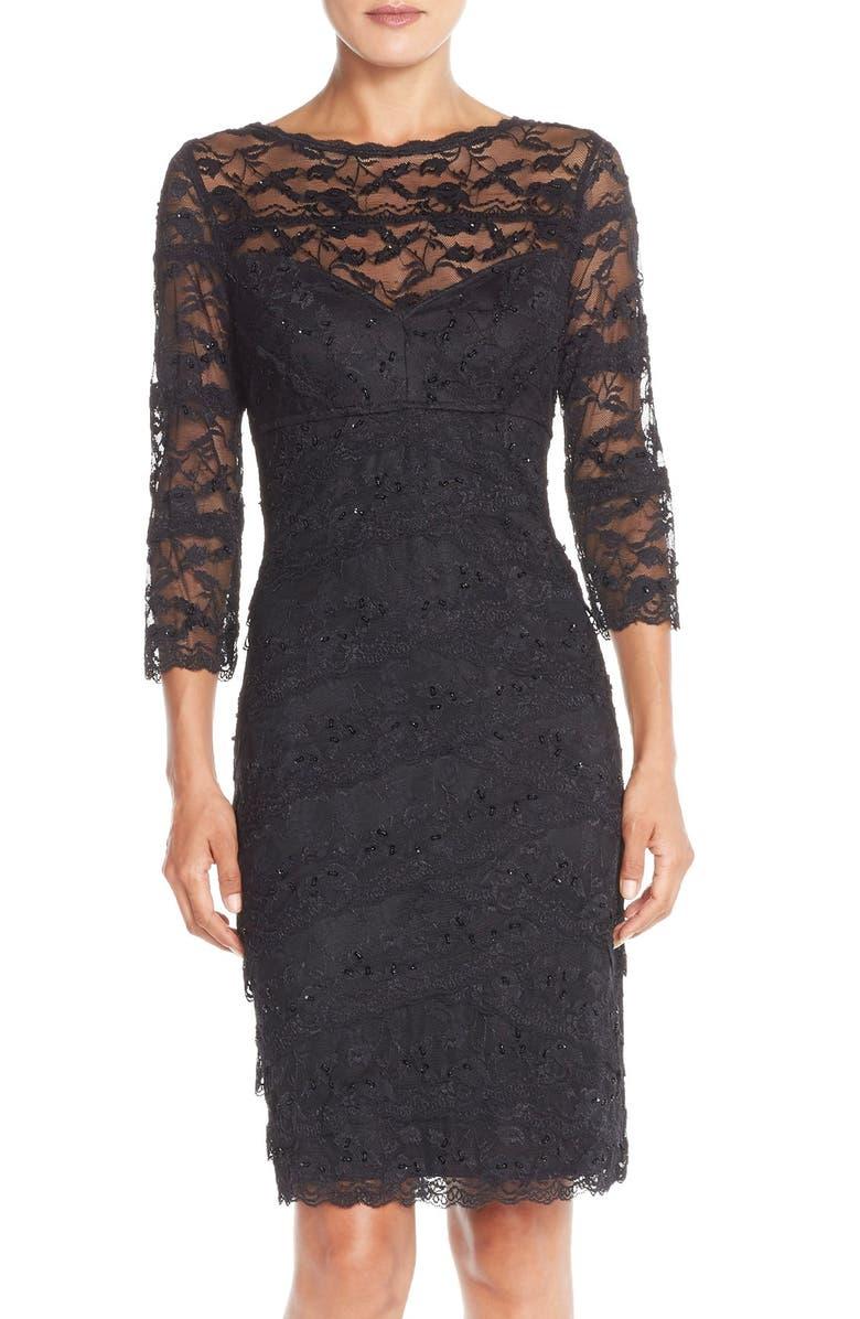 MARINA Tiered Embellished Lace Sheath Dress, Main, color, 001