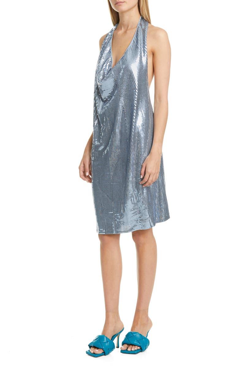 BOTTEGA VENETA Drape Halter Sequin Dress, Main, color, ICE