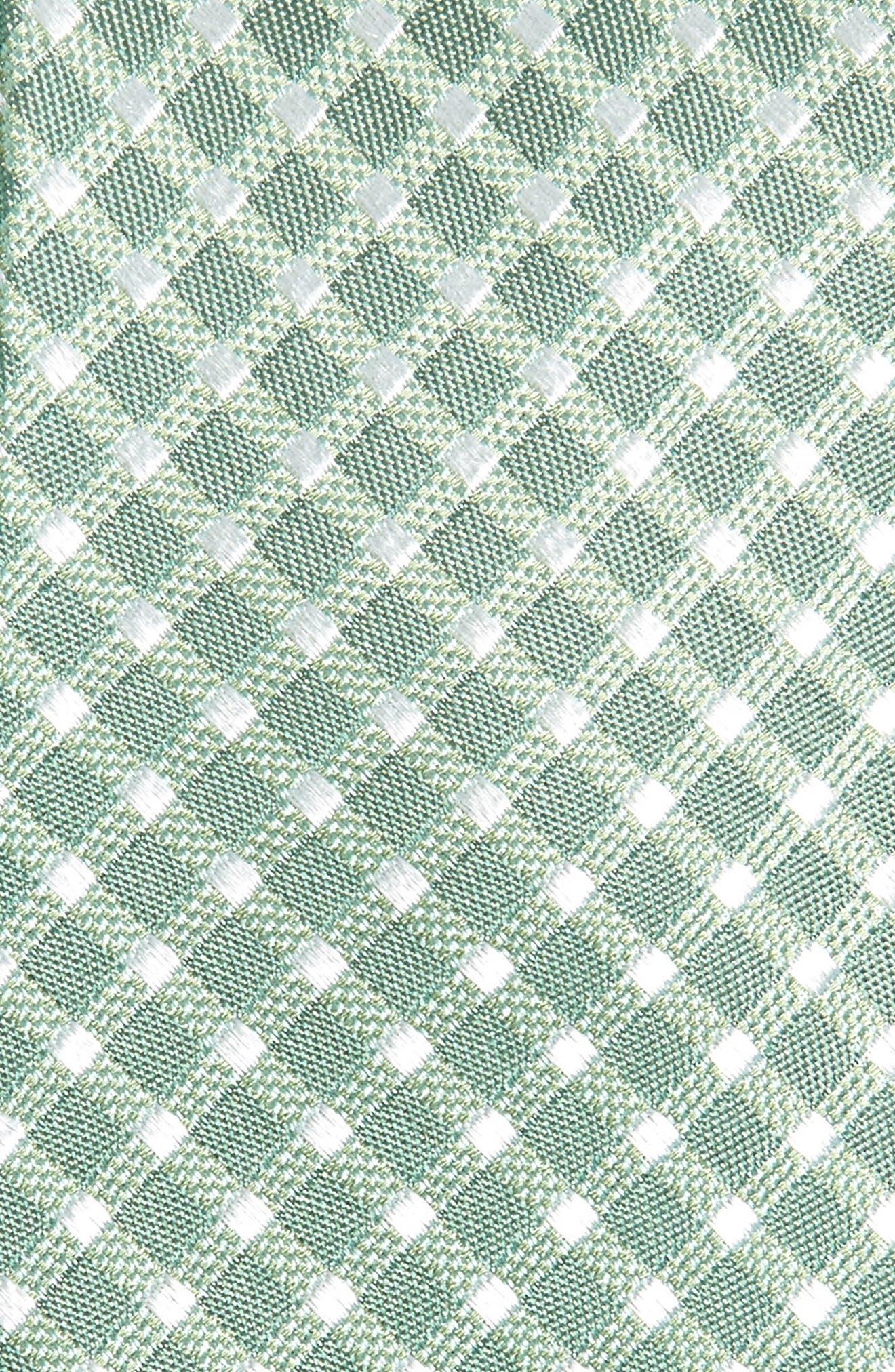 ,                             Steves Check Silk Blend Tie,                             Alternate thumbnail 2, color,                             GREEN