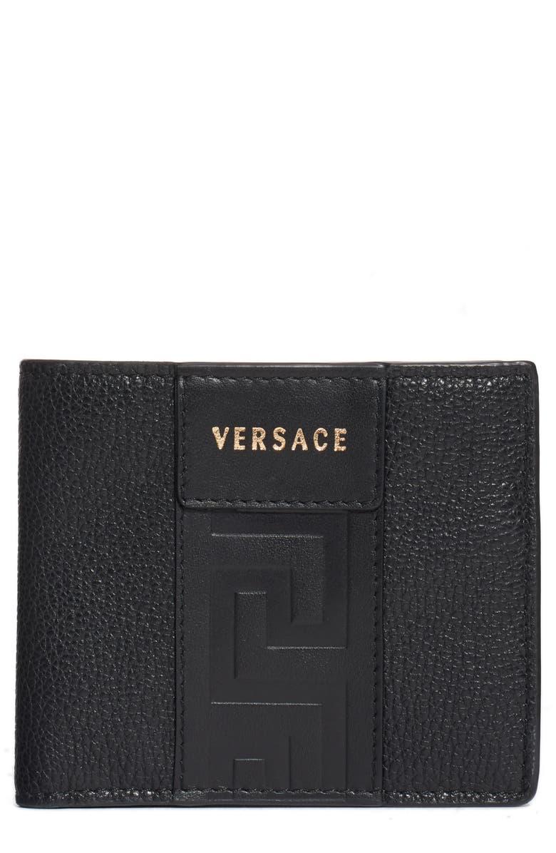 VERSACE Greek Key Embossed Leather Wallet, Main, color, BLACK+BLACK-TRIBUTE GOLD