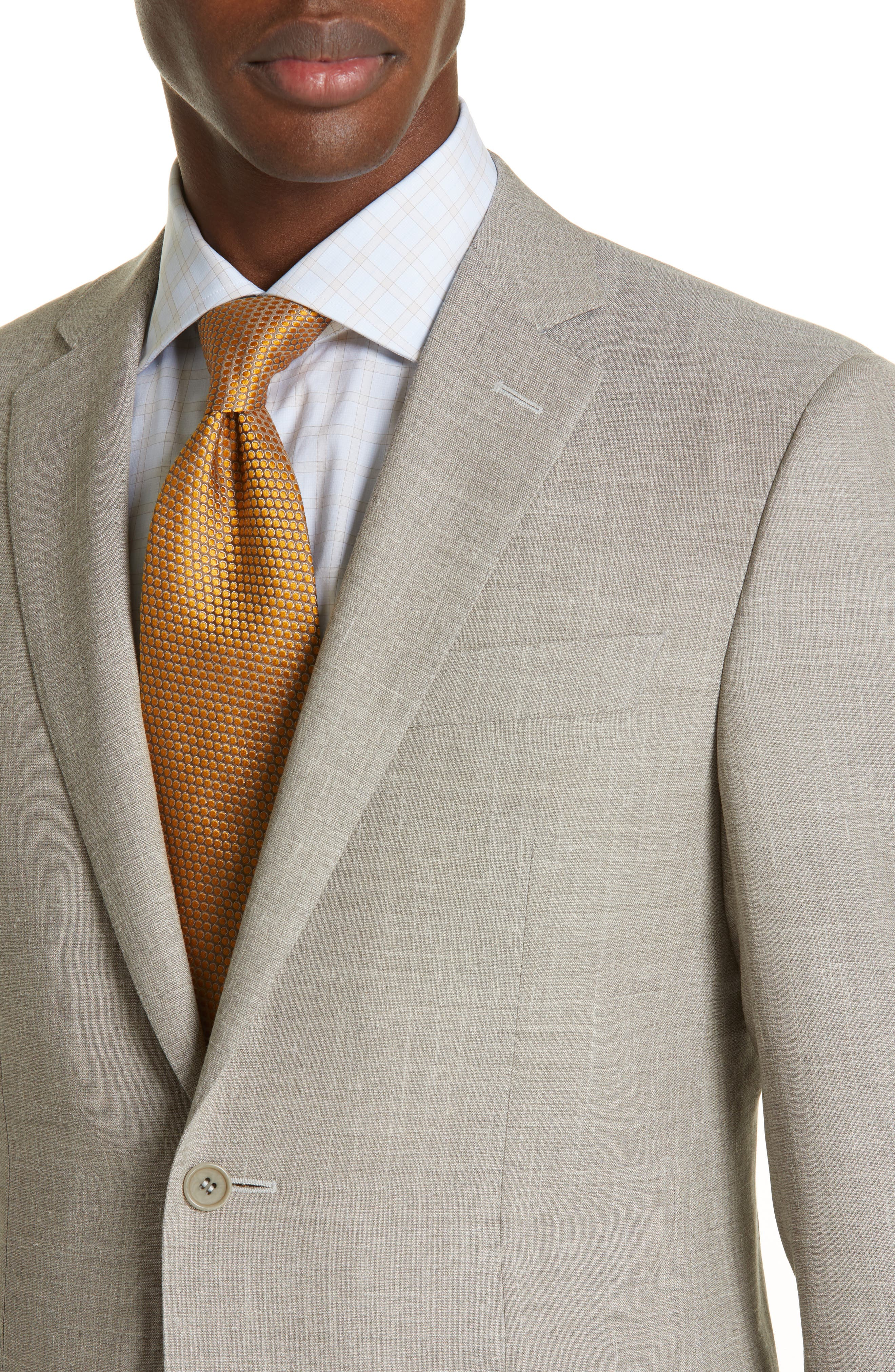 ,                             Milano Trim Fit Solid Wool Blend Suit,                             Alternate thumbnail 4, color,                             BEIGE