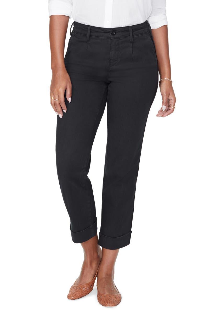 NYDJ Straight Leg Ankle Cotton Blend Chino Pants, Main, color, BLACK