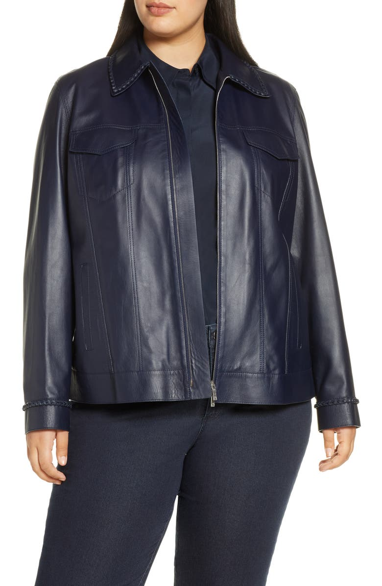 LAFAYETTE 148 NEW YORK Destiny Braid Trim Leather Jacket, Main, color, ROYAL BLUE