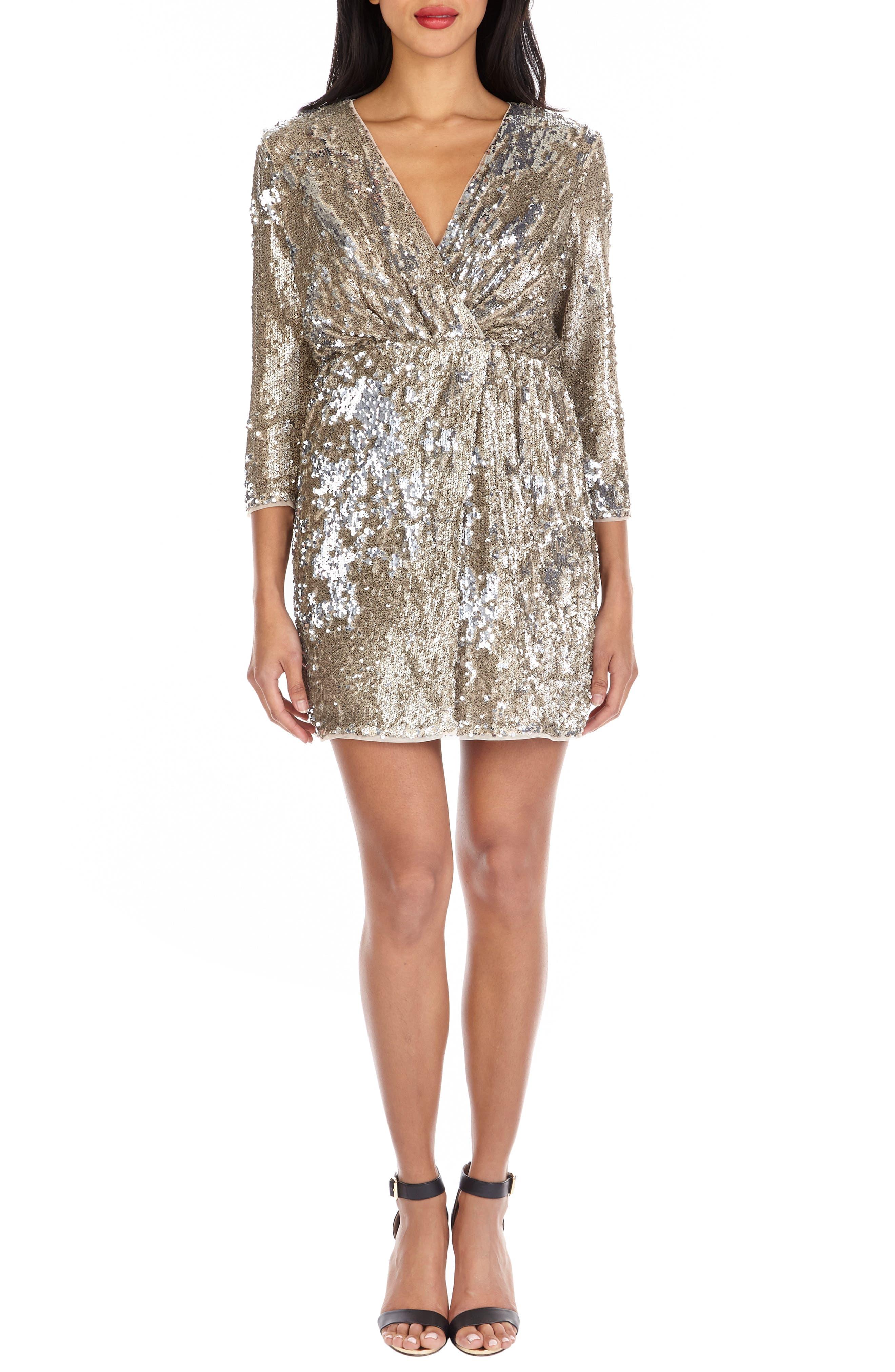 ,                             Venezia Sequin Surplice Dress,                             Alternate thumbnail 4, color,                             GOLD/ SILVER