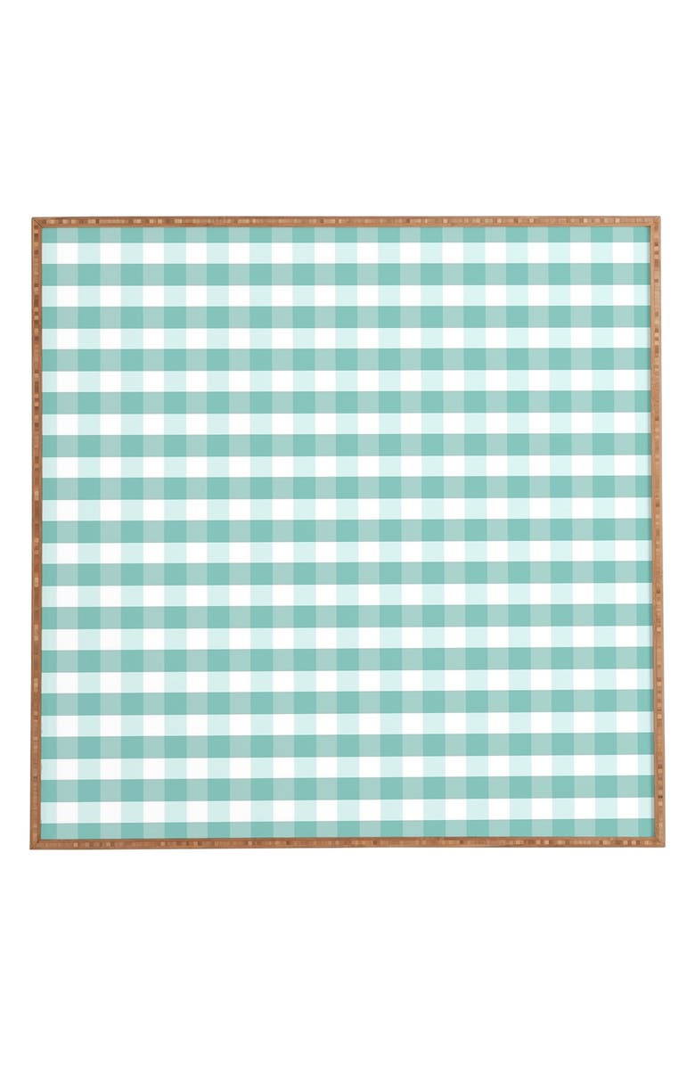 DENY DESIGNS 'Icy Gingham' Framed Wall Art, Main, color, BLUE