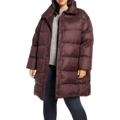 Plus Size Eileen Fisher Funnel Neck Down Coat, Purple