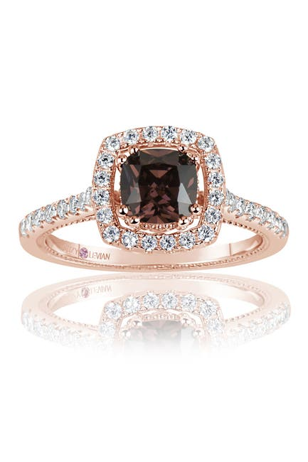 Image of Suzy Levian Pink Rhodium Plated Sterling Silver Chocolate CZ Ring
