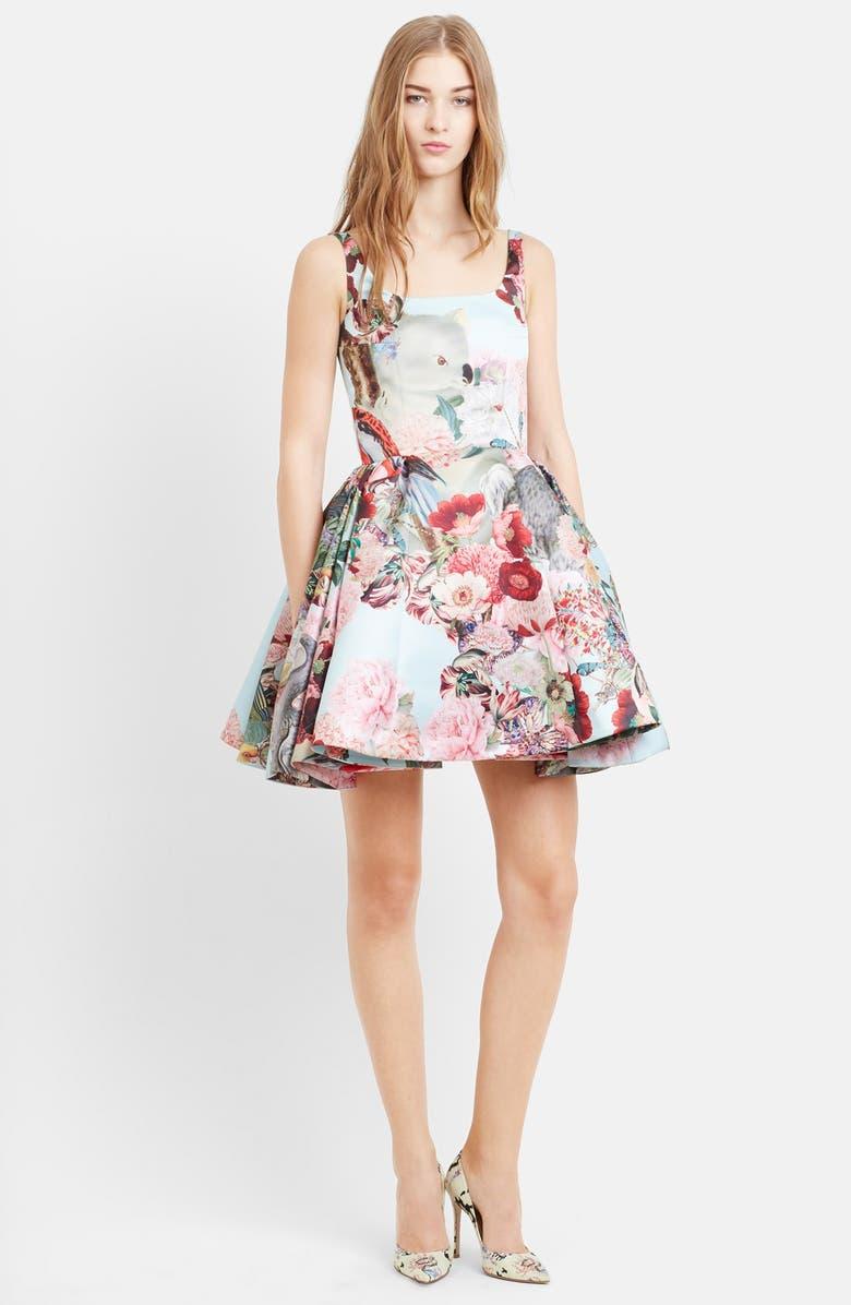 MARY KATRANTZOU Creature & Flower Print Satin Party Dress, Main, color, 400