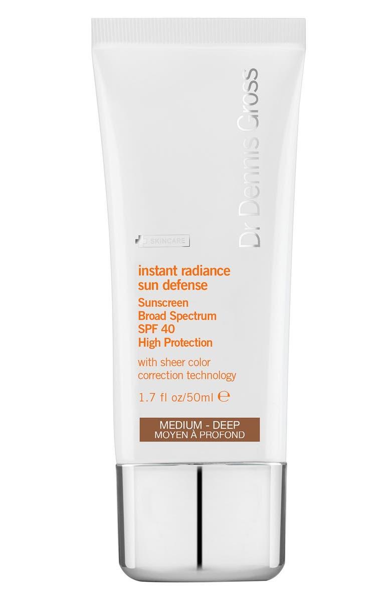 DR. DENNIS GROSS Instant Radiance Sun Defense Sunscreen Broad Spectrum SPF 40, Main, color, MED DEEP