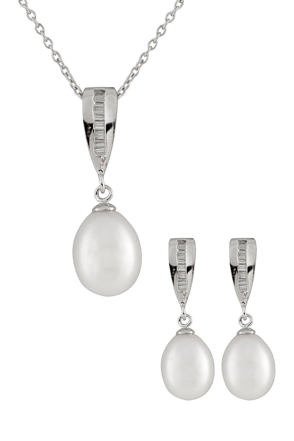 Image of Splendid Pearls 7-8mm White Freshwater Pearl & Channel Set Baguette Pendant Necklace & Earrings Set