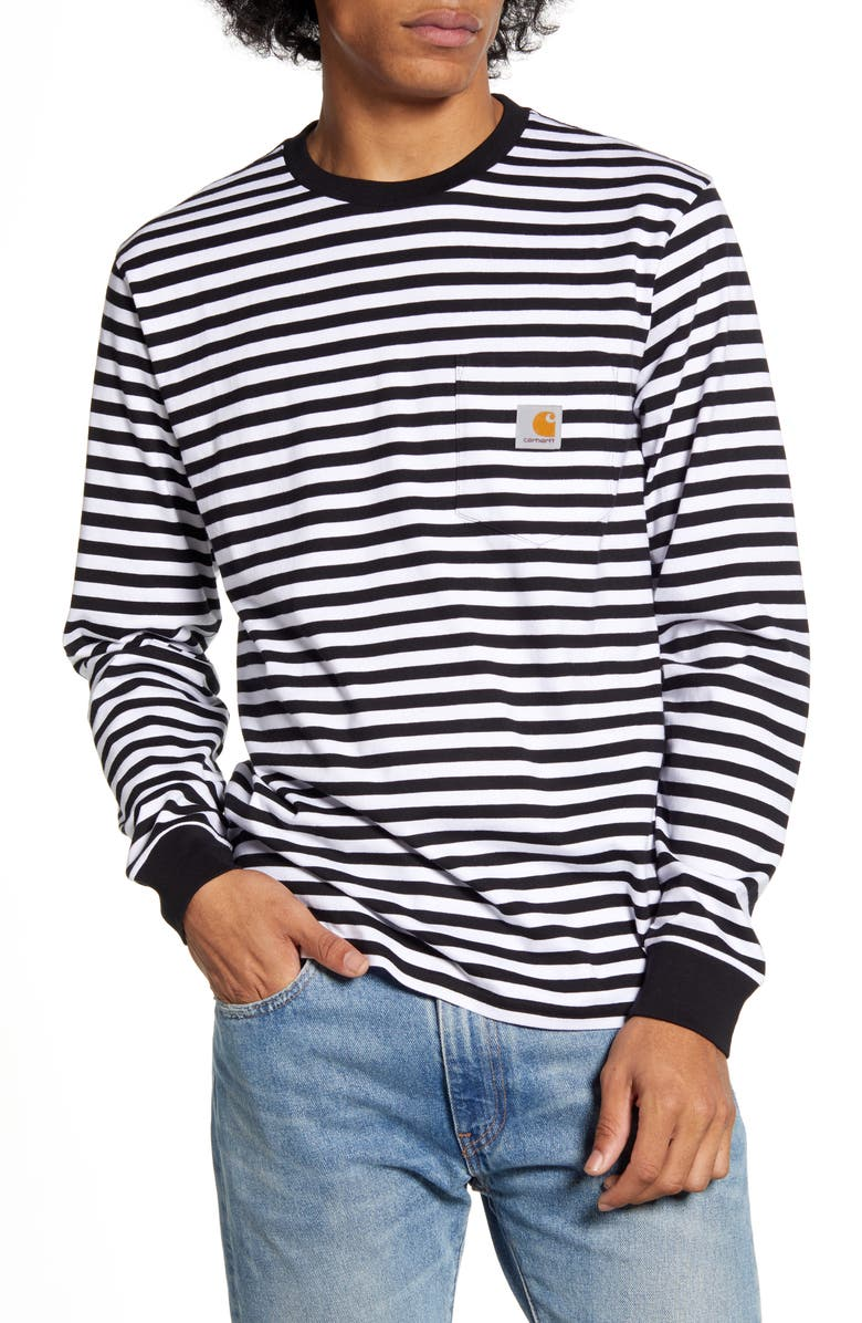 CARHARTT WORK IN PROGRESS Haldon Stripe Long Sleeve Pocket T-Shirt, Main, color, 001