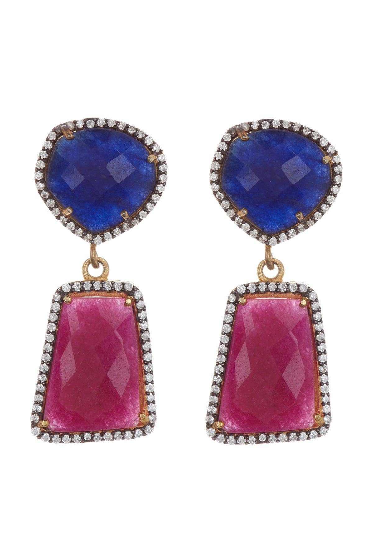 Image of Forever Creations USA Inc. Gold Vermeil Sterling Silver Ruby & Sapphire Drop Earrings