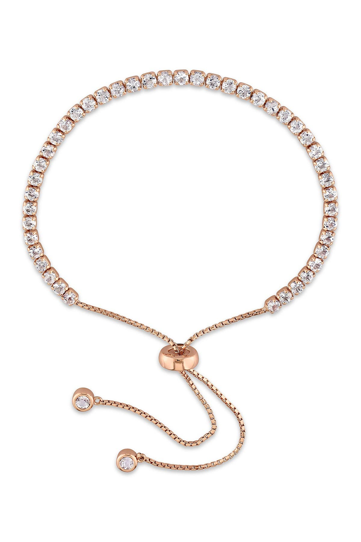 Image of Delmar Pink Plated Sterling Silver White Topaz Adjustable Tassel Bracelet