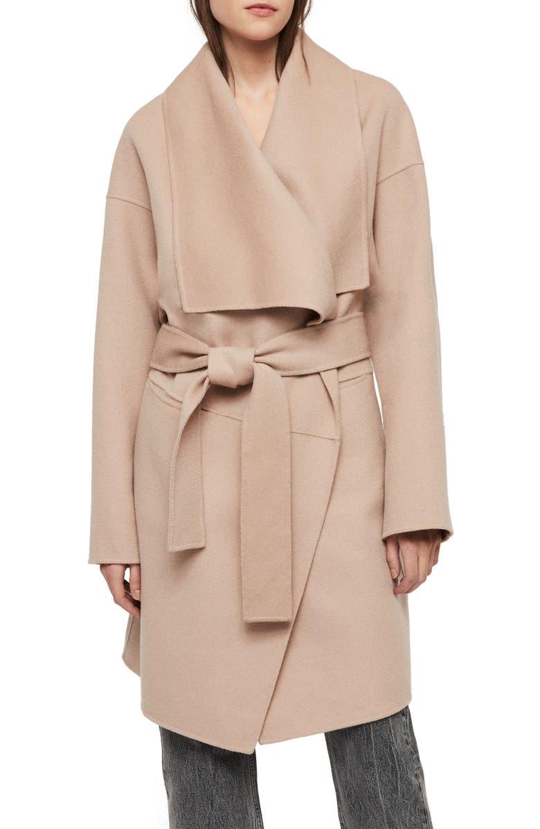 ALLSAINTS Adalee Wool Blend Coat, Main, color, 200