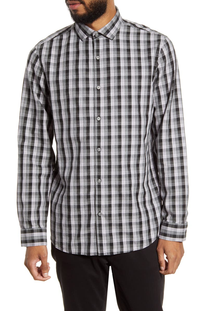 CALIBRATE Trim Fit Check Button-Up Shirt, Main, color, PURPLE GREY HEATHER CHECK