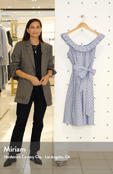Stripe Pleat Collar Clip-Dot Fit & Flare Dress, sales video thumbnail