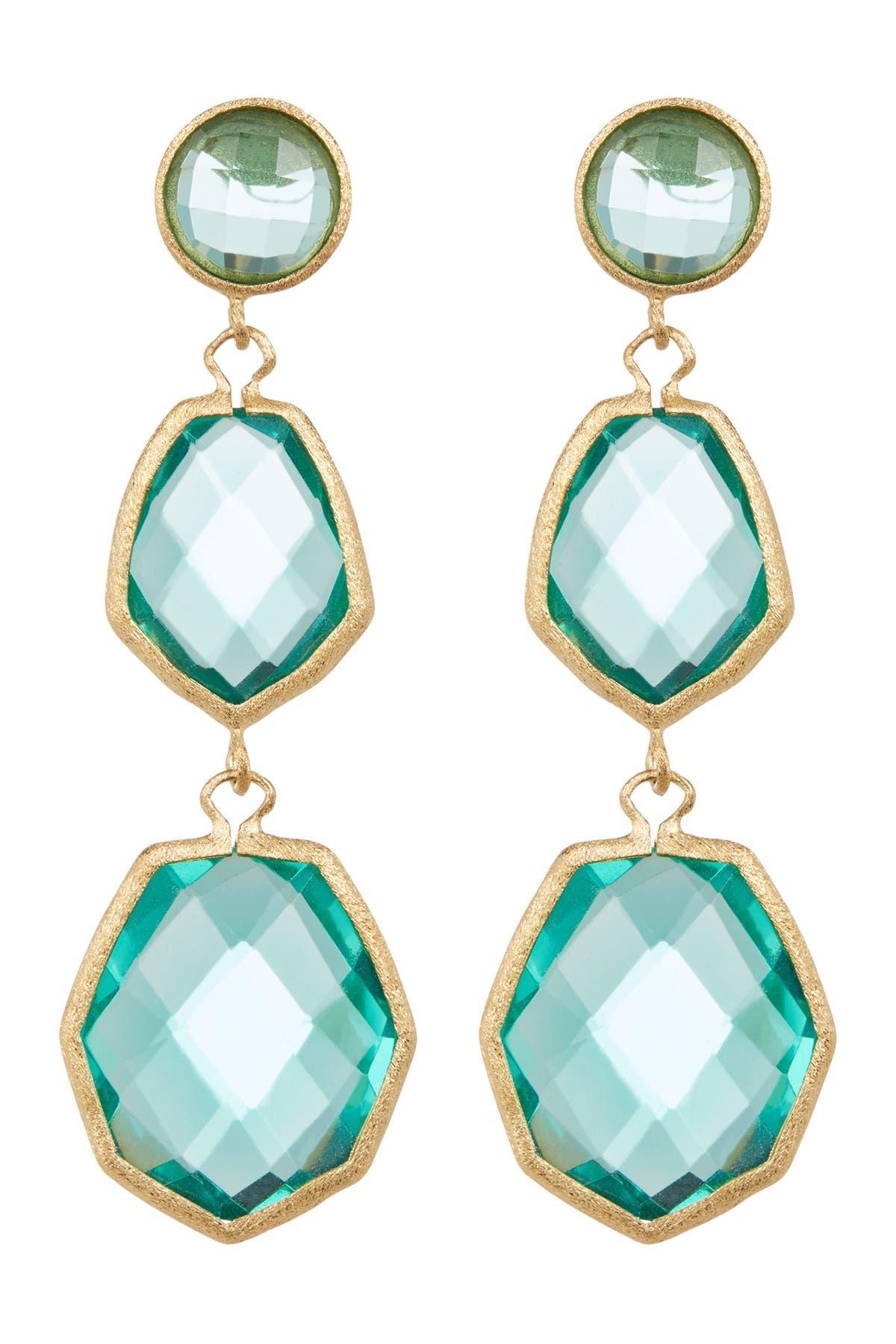 Image of Rivka Friedman 18K Gold Clad Faceted Capri Crystal Triple Dangle Deco Earrings