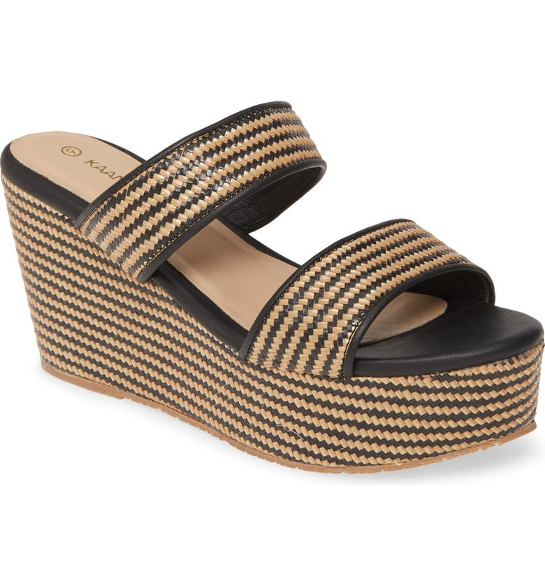 KAANAS Gibraltar Raffia Platform Wedge Slide Sandal, Main, color, 001