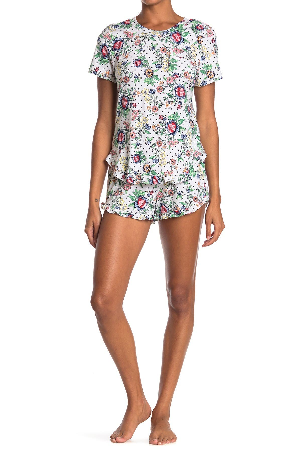 Image of Jane & Bleecker New York Cozy Patterned 2-Piece Frill Pajama Set