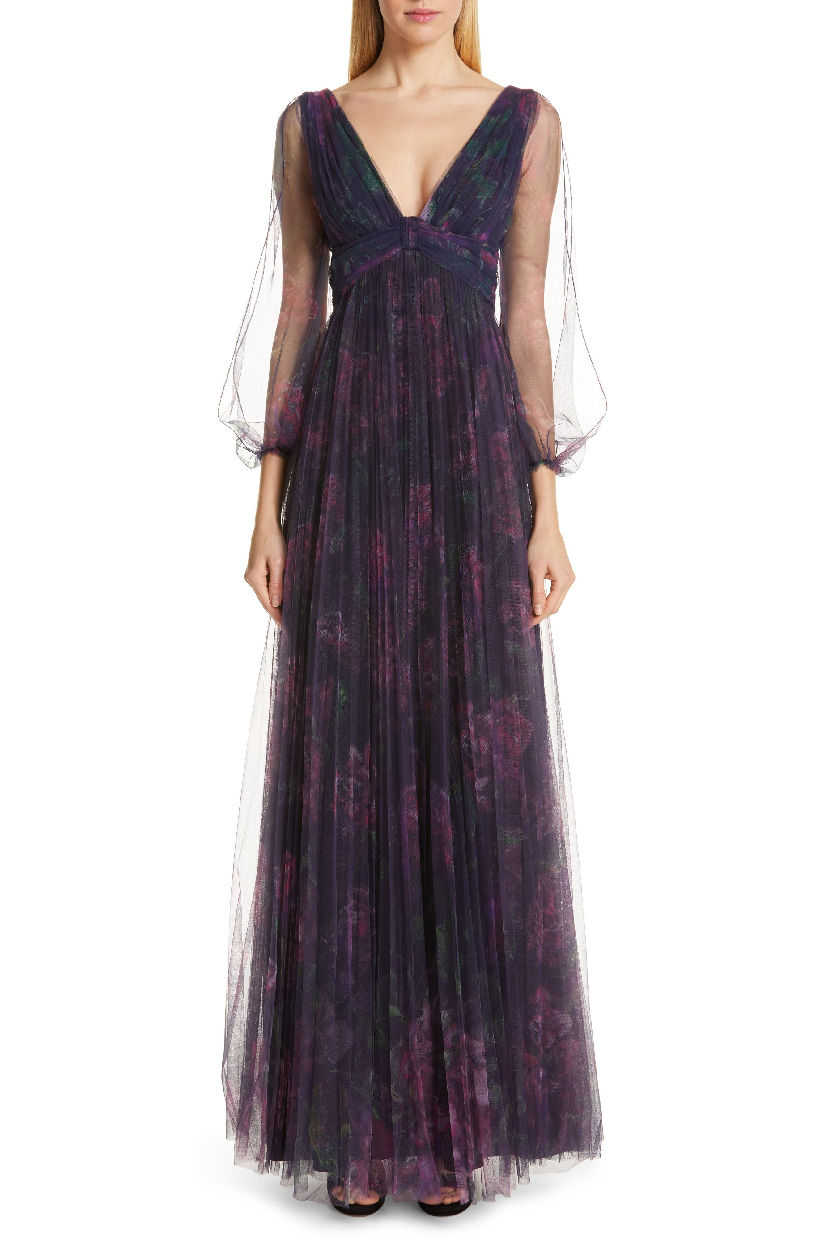 Marchesa Notte Floral Tulle Evening Dress, Blue