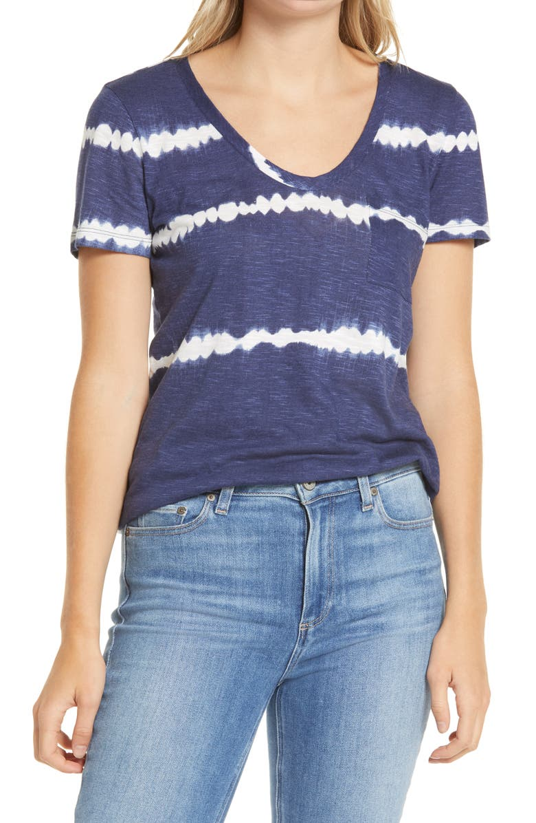 CASLON<SUP>®</SUP> Rounded V-Neck T-Shirt, Main, color, NAVY TIE DYE