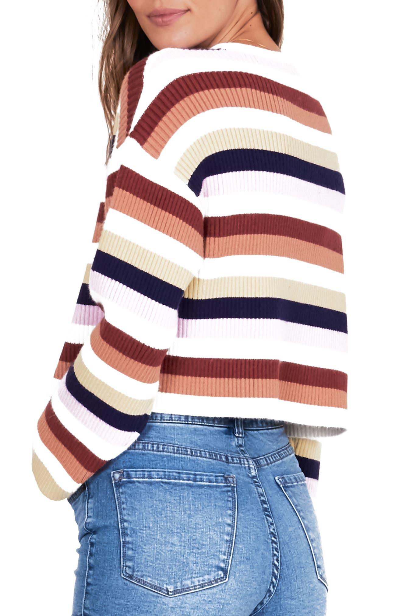 ,                             Bahia Stripe Crop Sweater,                             Alternate thumbnail 5, color,                             100